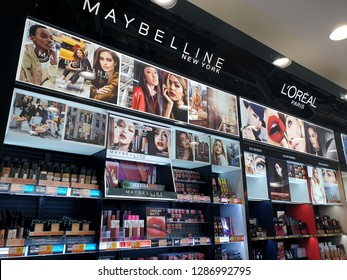 PENANG, MALAYSIA - FEB 12, 2018 : Maybelline cosmetics display in shopping mall. Maybelline is a major American makeup brand sold worldwide and a subsidiary of French cosmetics company L'Oréal.
