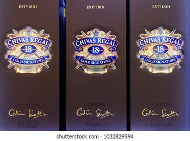 PENANG, MALAYSIA - FEB 13, 2018: Chivas Regal whisky on store shelf. Chivas Regal is the market-leading scotch whisky 12 years aged and more. It is a blended Scotch whisky produced by Chivas Brothers.