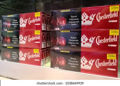 PENANG, MALAYSIA - FEB 13, 2018: Chesterfield Cigaretts in Penang Airport store shelf. Chesterfield is a brand of cigarettes, currently owned and manufactured by Altria.
