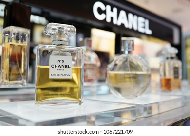 PENANG, MALAYSIA - FEB 13, 2018: Chanel brand perfume in duty free store shelf, Penang. Cosmetics are the most accessible Chanel product, with counters in upmarket department stores across the world.