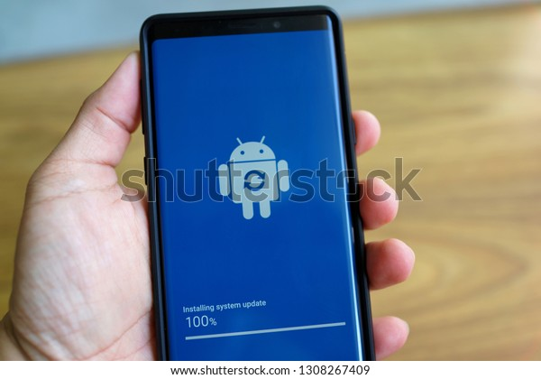PENANG, MALAYSIA - FEB 9, 2019: Android Pie update process on the Samsung Galaxy Note 9. This is Samsung's all-new One UI interface along with Android Pie to the Galaxy Note 9.