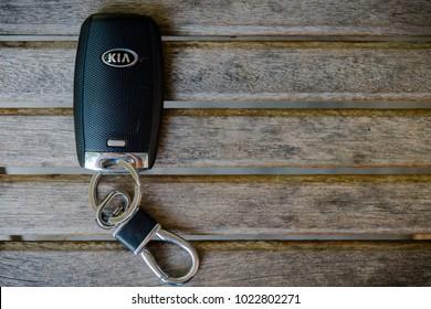PENANG, MALAYSIA- FEBRUARY 12, 2018: Kia Logo on car key. Kia Motor Corporation, headquartered in Seoul, is South Korea's second-largest automobile manufacturer.