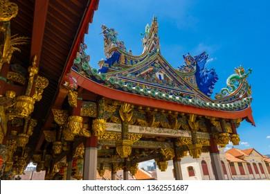 Penang, Malaysia - February 14,2019 : Elaborate detailed of Leong San Tong Khoo Kongsi clanhouse with blue sky in Penang, Malaysia on February 14,2019.