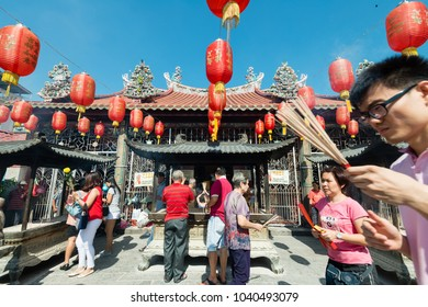 PENANG, MALAYSIA - FEBRUARY 4, 2018: Kuan Ying Teng Temple in Penang, Malaysia. People visit the Chinese temple and pay homage at the place of worship. The temple was constructed in 1800's.