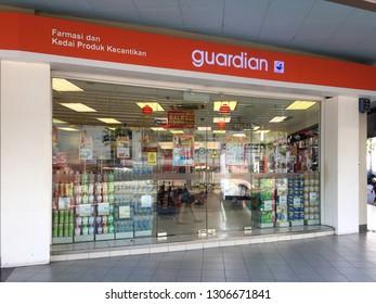 Penang, Malaysia - February 6, 2019 : Exterior shop facade of a Guardian pharmaceutical outlet at Egate Penang