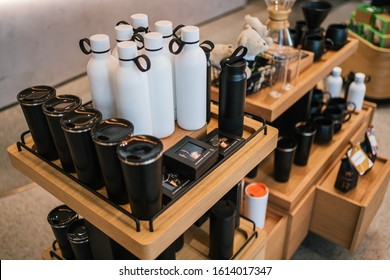 PENANG, MALAYSIA - JAN 13, 2020: Starbucks Reserve merchandise signature black colour and white colour thermos tumbler.