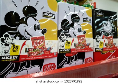 PENANG, MALAYSIA - JAN 14, 2019: Disney Mickey special edition Kit Kat on grocery store shelf. Kit Kat bars are produced by Nestle.