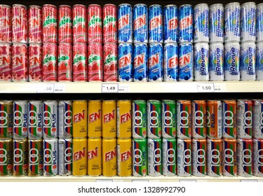 PENANG, MALAYSIA - JAN 14, 2019: Various brand carbonated drinks display on shelf store. Carbonated drinks are beverages that contain dissolved carbon dioxide.