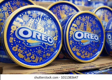 PENANG, MALAYSIA - JAN 17, 2018: Oreo cookies special edition metal tin on the supermarket shelf. Oreo is a sandwich cookie consisting of two chocolate wafers with a sweet creme filling in between.