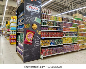PENANG, MALAYSIA - JAN 17, 2018: Interior view of a Tesco hypermarket. Tesco is the third largest retailer stores worldwide, British multinational grocery and general merchandise retailer.