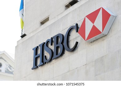 PENANG, MALAYSIA – JAN 21, 2018. - A business logo sign of an HSBC Bank at Beach Street Penang branch. HSBC is a British multinational banking and financial services holding company,