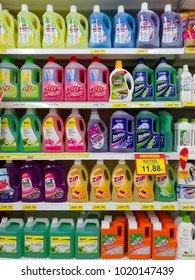 PENANG, MALAYSIA - January 05, 2018 -  variety of liquid abrasive cleaner for kitchen, bathroom and around the house, are placed on shelves & display in the grocery store.