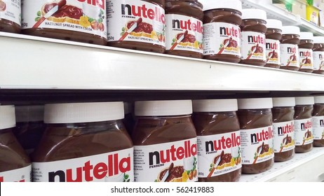 PENANG, mALAYSIA - January 20, 2017: Jar of Nutella Hazelnut on Shelf in Supermarket