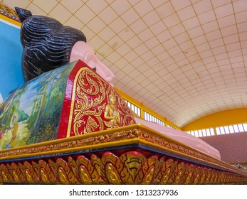 PENANG, MALAYSIA - JANUARY 3, 2015: Sleeping Buddha in the Wat Chayamangkalaram Thai Buddhist Temple.