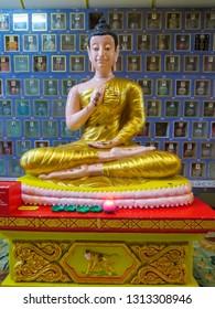 PENANG, MALAYSIA - JANUARY 3, 2015: Buddha statue in the Wat Chayamangkalaram Thai Buddhist Temple.