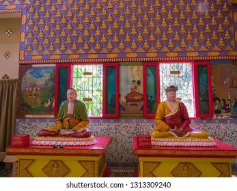 PENANG, MALAYSIA - JANUARY 3, 2015: Statues in the Wat Chayamangkalaram Thai Buddhist Temple.