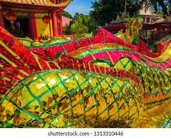 PENANG, MALAYSIA - JANUARY 3, 2015: Decorative elements in the Wat Chayamangkalaram Thai Buddhist Temple.