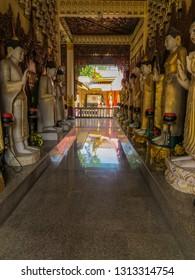 PENANG, MALAYSIA - JANUARY 3, 2015: View of the interior of Wat Chayamangkalaram.