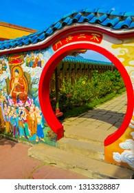 PENANG, MALAYSIA - JANUARY 3, 2015: Decorative elements on Kek Lok Si Temple.