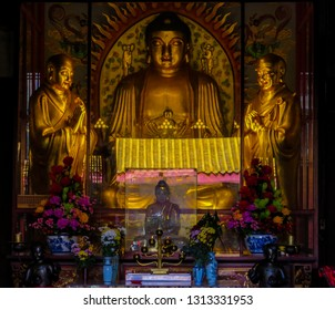 PENANG, MALAYSIA - JANUARY 3, 2015:  View of the interior of the Kek Lok Si Temple.