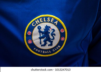 PENANG, MALAYSIA - JANUARY 30, 2018: Emblem of Chelsea FC, London football club on Chelsea FC jersey.