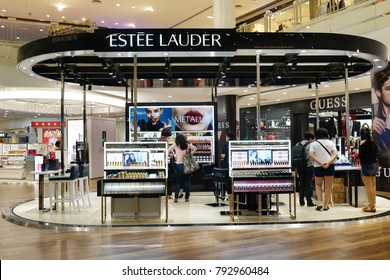 PENANG, MALAYSIA - JANUARY 9, 2018 : Estee Lauder cosmetic store in shopping mall. The Estee Lauder Companies is an American manufacturer of prestige skincare, makeup, fragrance and haircare product.