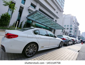 PENANG, MALAYSIA - JULY 05, 2019 : Luxury BMW car operate by Hertz. Hertz is an American car rental company with international locations in 145 countries worldwide.