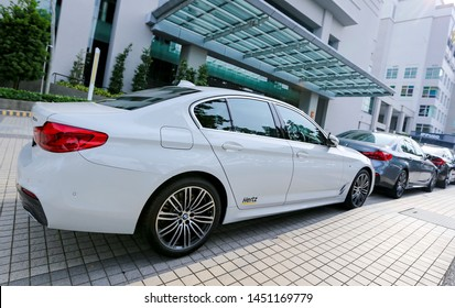PENANG, MALAYSIA - JULY 05, 2019 : Luxury BMW car. operate by Hertz. Hertz is an American car rental company with international locations in 145 countries worldwide.