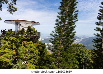 Penang, Malaysia - July 15, 2018: The lookout tower on top of Penang Hill in Penang, Malaysia.