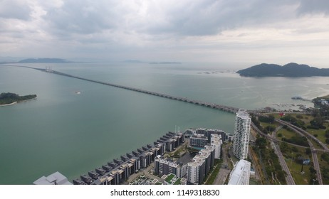 Penang, Malaysia. July 29 2018. View of Penang Bridge from aerial perspective. Penang bridge connecting Seberang Prai (mainland) to Gelugor on island sand.