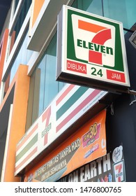 PENANG, MALAYSIA - JULY 7, 2019: View of 7-Eleven signage at store front. 7-Eleven is the world's largest operator, franchiser, and licensor of convenience stores with more than 50,000 outlets.