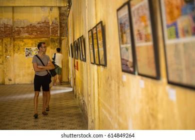 PENANG ,MALAYSIA - Jun 12 ,2016: Tourist looking at gallery art hang inside museum in Penang Malaysia.