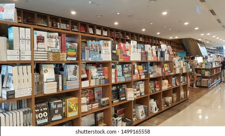Penang, Malaysia - Jun 2019: Row of  books at BookXcess, Malaysia's cheapest bookstore at Gurney Paragon Mall. It has tallest & longest bookshelves, offer wide range of books at discounted price