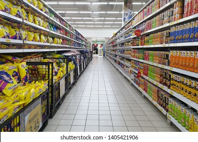 PENANG, MALAYSIA - MAR 6, 2019: Interior view of Giant hypermarket. Giant Malaysia is a trusted supermarket brand that offers the finest selection local and imported quality products.