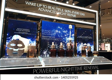 PENANG, MALAYSIA - MAR 7, 2019 : Estee Lauder cosmetic products display on store shelf. Estee Lauder Companies is an American manufacturer of prestige skincare, makeup, fragrance and haircare product.