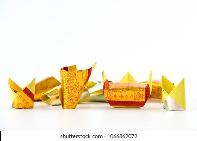 PENANG, MALAYSIA - MAR 9, 2018 : Joss Paper are sheets of paper and made into burnt offerings common in Chinese ancestral worship such the veneration of the deceased family members and relatives