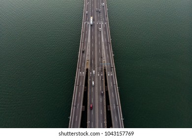 PENANG, MALAYSIA - MARCH 11, 2018: Aerial view of Penang bridge from dji Mavic Air drone. Penang bridge is one of the famous landmark in Penang, Malaysia.
