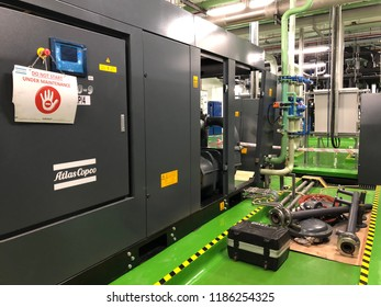 Penang, MALAYSIA. March 14, 2018. Industrial air compressor under fully servicing