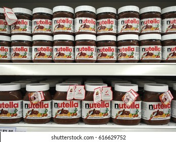 PENANG, MALAYSIA - MARCH 24, 2017 : Nutella hazelnut spread jars on Supermarket shelves. Nutella is the brand name of a sweetened hazelnut cocoa spread. Manufactured by the Italian company Ferrero.