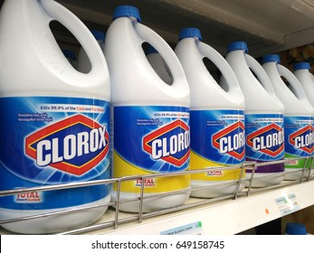PENANG, MALAYSIA - MAY 11, 2017: Bottles of Clorox Bleach on store shelves. Clorox is an American Company founded in 1913.