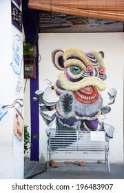 PENANG, MALAYSIA- MAY 12, 2014 : Wall grafitti of lion head, Penang Malaysia. These wall graffitti has gained reputation and become part of Penang tourist attractions.