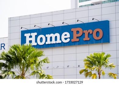 PENANG, MALAYSIA - MAY 14, 2020: Close up of HomePro furniture store signboard.