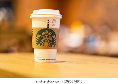 Penang, Malaysia - May 15, 2018: Starbucks Coffee. Starbucks is the largest coffeehouse company in the world, with 20,891 stores in 62 countries.