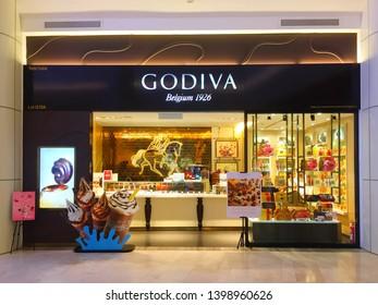 Penang, Malaysia - May 15, 2019: Exterior entrance facade of a Godiva luxury ice cream outlet at Paragon Mall Penang