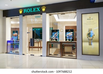 PENANG, MALAYSIA - MAY 18, 2018: Rolex store at Gurney Plaza Mall, Penang. Rolex SA is a Swiss luxury watchmaker. It is the largest single luxury watch brand, producing about 2,000 watches per day.