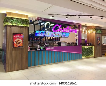 Penang, Malaysia - May 20, 2019 : Exterior view of a Chatime drink outlet at  First Avenue Mall