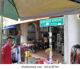 PENANG, MALAYSIA - MAY 20, 2019: Jalan Kuala Kangsar road sign in George Town, Penang. Jalan Kuala Kangsar is part of the Chowrasta Street Market UNESCO world heritage site.