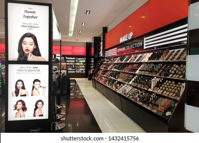 PENANG, MALAYSIA - MAY 9, 2019: Sephora make up and perfume store in Queensbay Mall. Sephora is a French chain of cosmetics stores, featuring nearly 300 brands along with its own private label.
