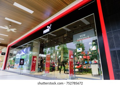 Penang, Malaysia - Nov 11, 2017: Puma shop. PUMA SE, branded as PUMA, is a German multinational company that designs and manufactures athletic and casual footwear, apparel and accessories.