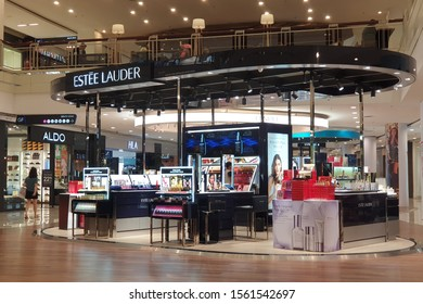 PENANG, MALAYSIA - NOV 11, 2019: Estee Lauder cosmetic store in shopping mall. The Estee Lauder Companies is an American manufacturer of prestige skincare, makeup, fragrance and haircare product.